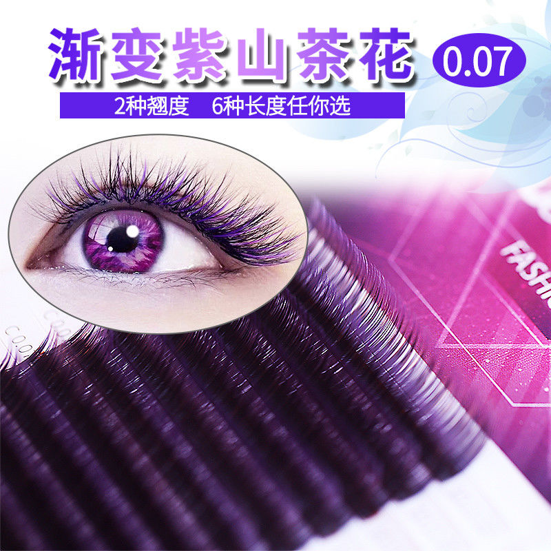 Gradual Purple Colored Eyelash Extensions Synthetic Hair 12 Lines / Tray Volume